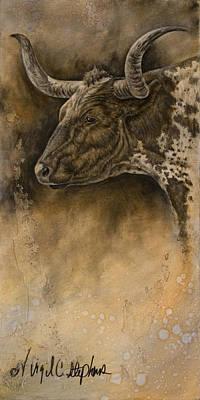 Longhorn Drawing - Longhorn by Virgil Stephens