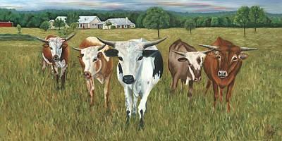 Painting - Longhorns by Helen Eaton