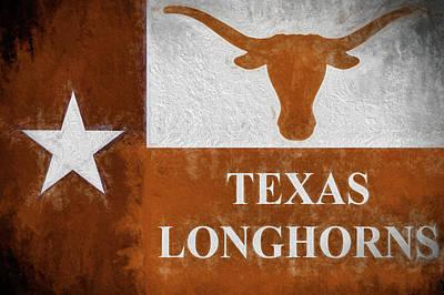 Digital Art - Longhorns Texas Flag by JC Findley