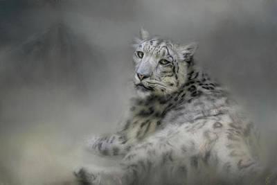 Cat Art Painting - Longing Snow Leopard Art by Jai Johnson