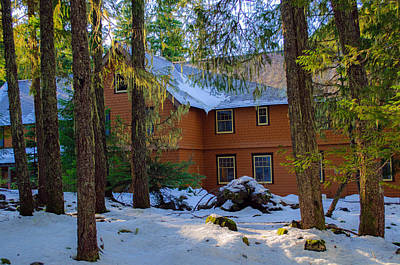 Photograph - Longmire Winter Cabin by Tikvah's Hope