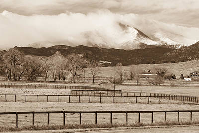 Longs Peak - Storm And Fences - Sepia Image Print by James BO  Insogna