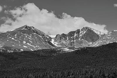 Photograph - Longs Peak Diamond Monochrome by James BO Insogna