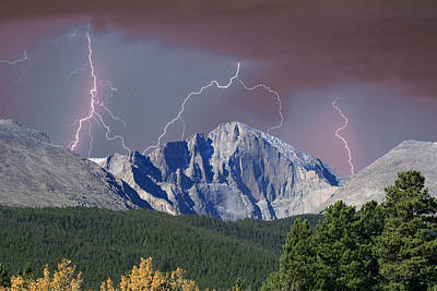 Mountain Royalty-Free and Rights-Managed Images - Longs Peak Lightning Storm Fine Art Photography Print by James BO Insogna
