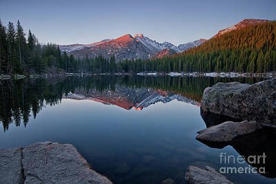 Longs Peak Reflection On Bear Lake Art Print