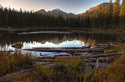 Sun Rise Colorado Photograph - Longs Peak Reflections by Chris Allington