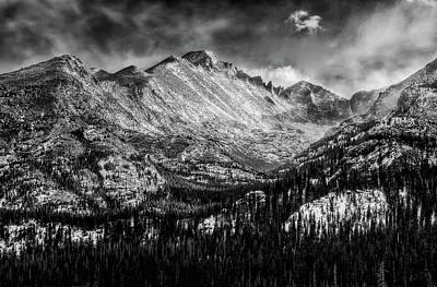 Surrealism Royalty-Free and Rights-Managed Images - Longs Peak Rocky Mountain National Park Black and White by Ken Smith