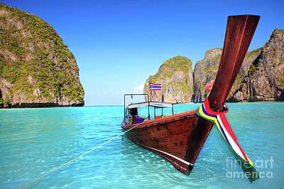 1-war Is Hell Royalty Free Images - Longtail boat at Maya bay Royalty-Free Image by MotHaiBaPhoto Prints