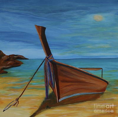 Longtail Boat On The Seashore Original by Christiane Schulze Art And Photography