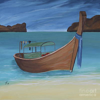 Painting - Longtail Boat On The Shore by Christiane Schulze Art And Photography