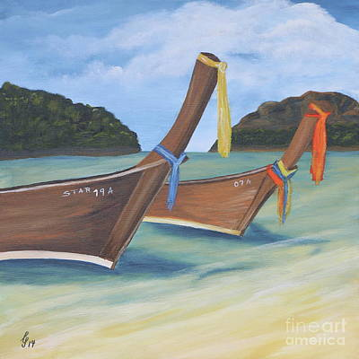Painting - Longtail Boats On Tropical Beach by Christiane Schulze Art And Photography