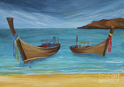 Painting - Longtailboats In Turquoise Water by Christiane Schulze Art And Photography