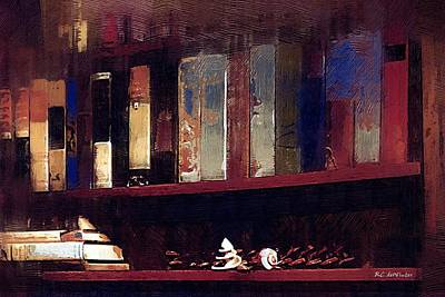 Bookshelf Painting - Longtime Companions by RC DeWinter