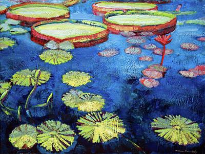 Longwood Gardens Painting - Longwood Waterlilies 12 by Monique Sarkessian