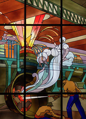 Glass Art - Longwy Steel Factory  by Louis Majorelle