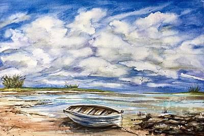 Painting - Lonley Boat 3 by Katerina Kovatcheva