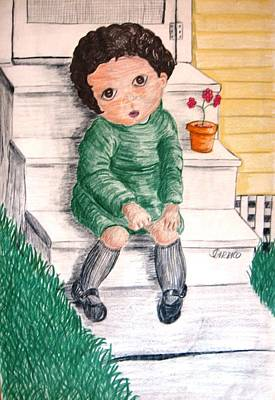 Lonley Girl On Back Step Art Print