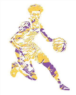 Mixed Media - Lonzo Ball Los Angeles Lakers Pixel Art 1 by Joe Hamilton