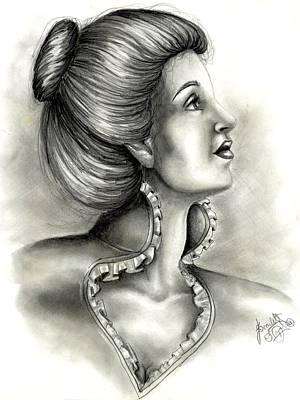 Hair Bun Drawing - Look Above Yourself by Scarlett Royal