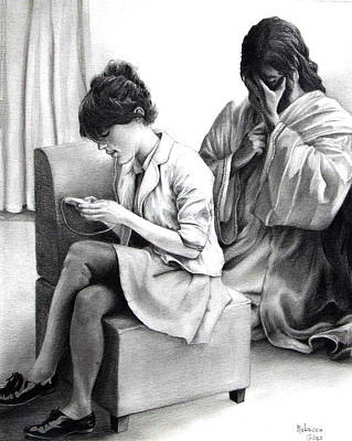 Weeping Drawing - Look At Jesus by Rebecca Giles