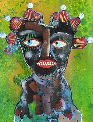 Primitive Raw Art Painting - Look At Me by Bea Roberts