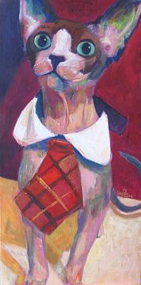 Sphynx Art Painting - Look At Me by Sandy Lindblad