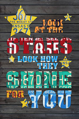 Look At The Stars Coldplay Yellow Inspired Typography Made Using Vintage Recycled License Plates Art Print by Design Turnpike