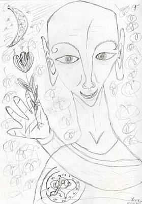 Drawing - Look Into My Eyes. Love by Bennu Bennu