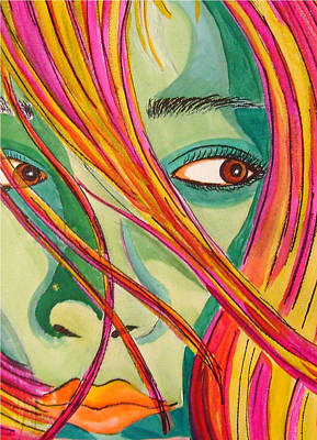 Acrylic Portrait Painting - Look The Other Way by Robin Mead