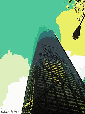 Hancock Building Digital Art - Look Up Chicago by Russ Harris