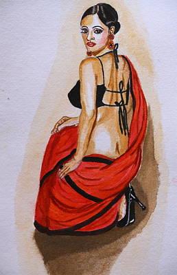 Sarees Painting - Lookin Back At You by Greeshma Manari