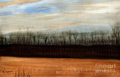 Oneida Painting - Looking Across The Fields To The Woods by Robert Coppen