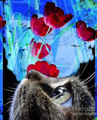 Looking At The Flowers Art Print by Kathleen Struckle