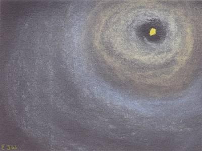 Moonlit Mixed Media - Looking At The Moon by Ellen Jenny Watkins