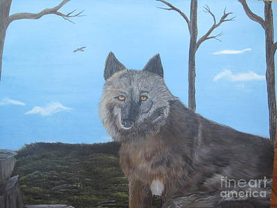 Wolve Painting - Looking At You by John Nickerson