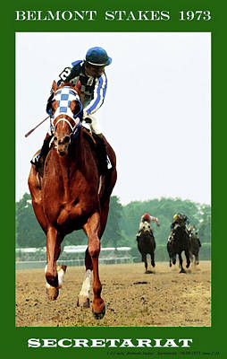Upton Painting -  Looking Back 1 1/2 Mile Belmont Stakes Secretariat 06/09/73 Time 2 24 - Painting by Thomas Pollart