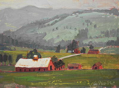 Red Barn In Winter Painting - Looking Back by Len Stomski