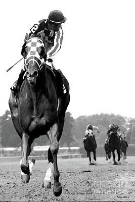 Looking Back, 1973 Secretariat, Stretch Run, Belmont Stakes Art Print by Thomas Pollart