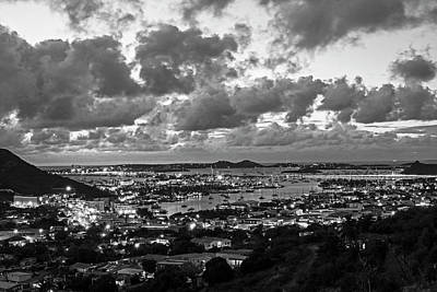 Sint Maarten Wall Art - Photograph - Looking Down At Saint Martin During Twilight Black And White by Toby McGuire