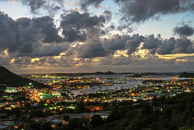 Sint Maarten Wall Art - Photograph - Looking Down At Saint Martin During Twilight by Toby McGuire