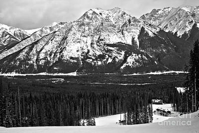 Photograph - Looking Down From Nakiska Black And White by Adam Jewell