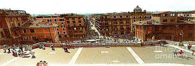 Photograph - Looking Down From The Top Of The Spanish Steps - Rome Italy by Merton Allen