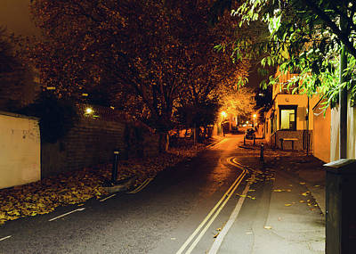 Photograph - Looking Down Hope Chapel Hill Bristol By Night A by Jacek Wojnarowski