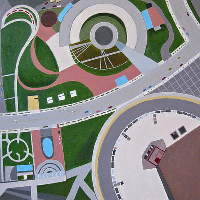 Intersection Painting - Looking Down In Toronto by Toni Silber-Delerive