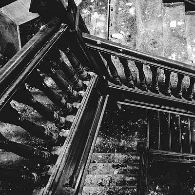 Photograph - Looking Down Old Staircase by Dylan Murphy