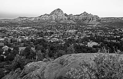Photograph - Looking Down On Sedona From Airport Mesa Sunrise 2 Black And White by Toby McGuire