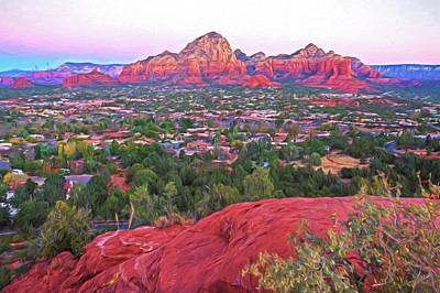Photograph - Looking Down On Sedona From Airport Mesa Sunrise 2 Painterly by Toby McGuire