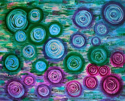 Looking Down On Umbrellas-bleu Art Print by Brenda Higginson