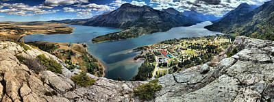 Looking Down On Waterton Lakes Art Print