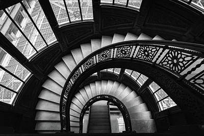 Photograph - Looking Down The Rookery Building Winding Staircase And Windows In Black And White by Anthony Doudt